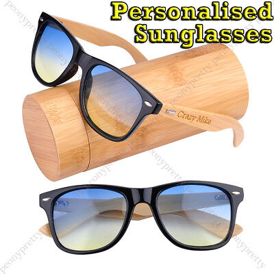 Personalised Engraving Bamboo Wood 2 Tone Lens UV400 Sunglasses Groomsmen Gift i