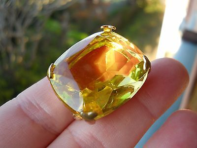 Vintage Citrine Yellow Faceted Glass Claw Set Gold Tone Metal Estate Brooch