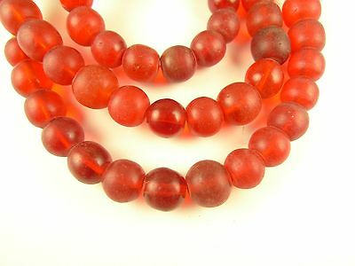 """24"""" lovely 9.5 mm translucent ruby red Czech glass trade beads African AB-0117"""