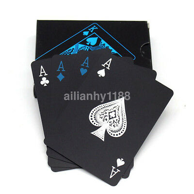 Creative Black Plastic PVC Poker Waterproof Magic Playing Cards Table Game UK