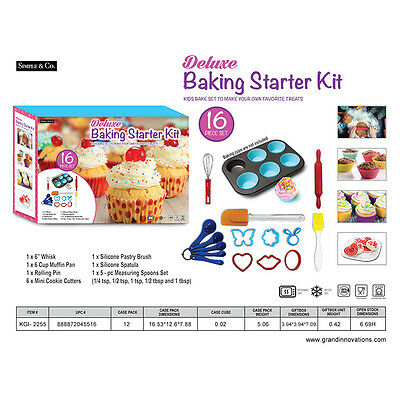16 Pcs Children Kids Silicone Bakeware Cake Baking Utensil Set Boy Girl Gift Fun