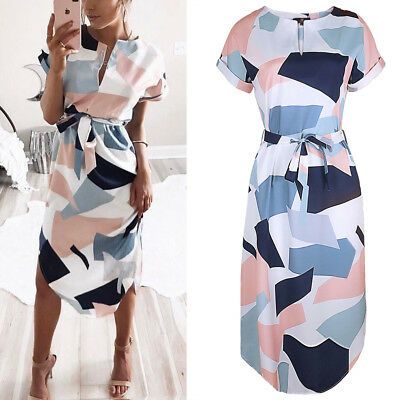 Women Floral Print Short Sleeve Ladies Summer Party Holiday Short Mini Dress AU