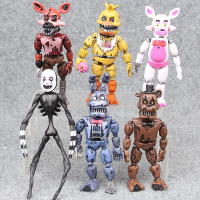 """Five Nights at Freddys Nightmare 5"""" Set of 6 Action Figures Gift Collectible BO"""