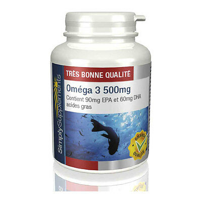 Oméga 3 500mg - Riche en EPA et DHA - 180 Gélules - Simply Supplements