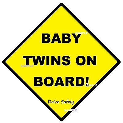 BABY TWINS ON BOARD! - CAR SIGN - MADE IN AUSTRALIA 2 Peel Off Strips FREE POST