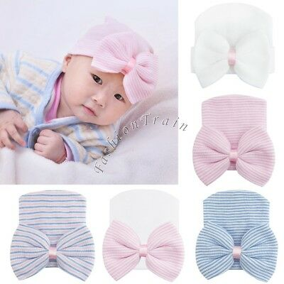 Toddler Baby Infant Girl Boy Cotton Bow Soft Stretchy Hat Beanie Kid Photo Prop