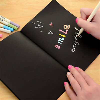 Black Paper Notebook Notepad Sketch Graffiti Drawing Painting Stationery 2 Sizes