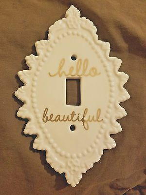 "BN Ceramic ""Hello Beautiful"" Light switch plate vintage appeal"