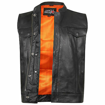 "Son Of Anarchy Gun Pocket Real Leather "" Cut Off "" Motorcycle Biker Waistcoat"