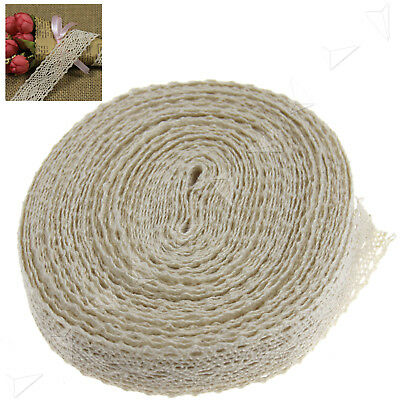 Beige Lace Edge Trim Ribbon Craft Cotton Crochet Wedding Accessories 12M x 2cm