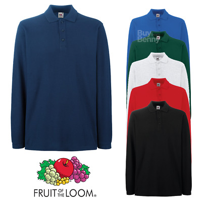 Fruit of the Loom MEN'S POLO SHIRT LONG SLEEVE PREMIUM COTTON CASUAL S-3XL OFFER