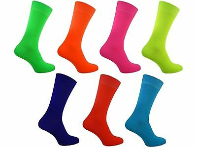 1 Mens Plain Bright Neon Teddy Boy Fancy Dress Party Socks UK 6-11