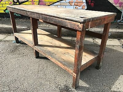 LARGE Vintage Oregon WORK BENCH RUSTIC DINING TABLE KITCHEN ISLAND Industrial