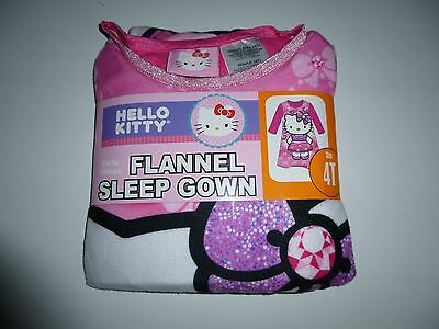 Hello Kitty Girls Flannel Sleep Gown  Size 4T  NWT