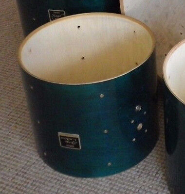 Yamaha Stage Custom birch drum shells - 22/ 12 /16 Turquise / green lacquered