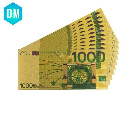 1000 Euro Colorful 24k Gold Foil Bank Note Collectible Custom Paper Money 10pcs