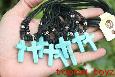 10 Handmade Artificial Stone BLUE CROSS with Bone Beads Necklaces Wholesale