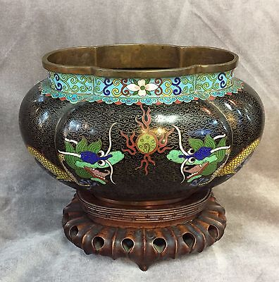 Chinese Bronze Cloisonne Enameled Imperial 5-Clawed Dragon Melon Shaped Vase
