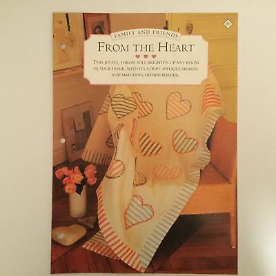 Needlework pattern: Applique heart throw design and instructions