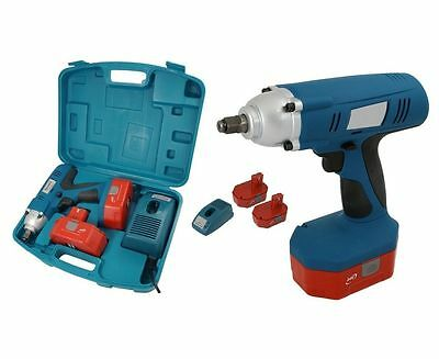 "Heavy Duty 1/2"" 24V Drive Cordless Impact Wrench Ratchet + 2 Batteries In Case"