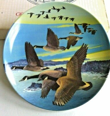 Vintage Decorative Plate Canadian Geese Southward Bound Hard Fired China Plates
