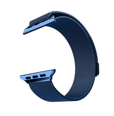Blue Stainless Mesh Metal Band Strap For Apple Watch 42mm Milanese