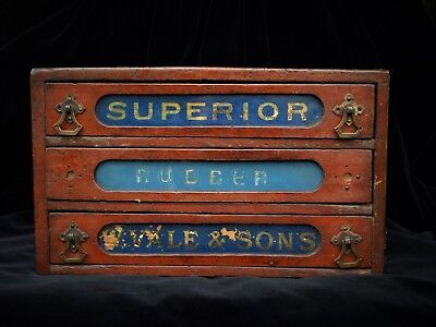Small Vintage Shop Display Cupboard Fitting With Silvered Advertising Drawers
