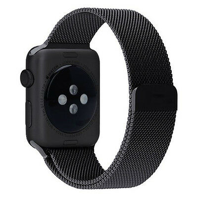 BLACK Stainless Mesh Metal Band Strap For Apple Watch 42mm Milanese