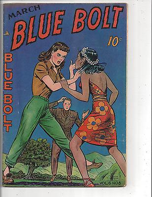 Blue Bolt Vol. # 6, # 8 (FN- 5.5) 1946 Girl Fight cover