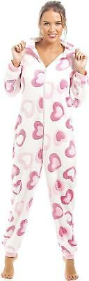 Camille Womens Pink And White Heart Supersoft Fleece Hooded Sleepsuit All In One