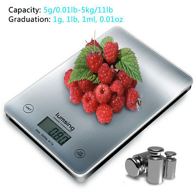 Digital LCD Electronic Kitchen Food Scales Cooking Weighing Balance 11lbs/5kg