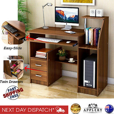 Wooden Desk Table Home Office Computer Study Work Station Table - Walnut