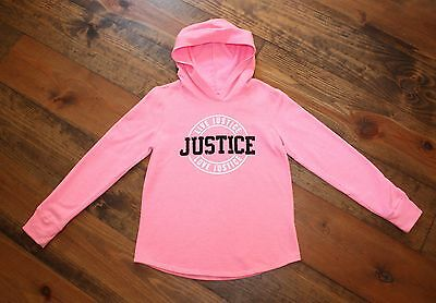 Justice Girl's Pink Hoodie With Black Sequin Letters Size 8 Nice!