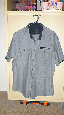 Mens Yd Grey  With Fine Check Pattern Short Sleeved Shirt Size Slim Fit Xxl