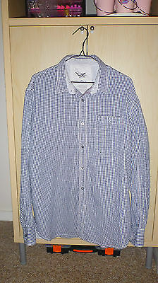 Mens Fcuk Grey And White Checked Long Sleeved Shirt Size L