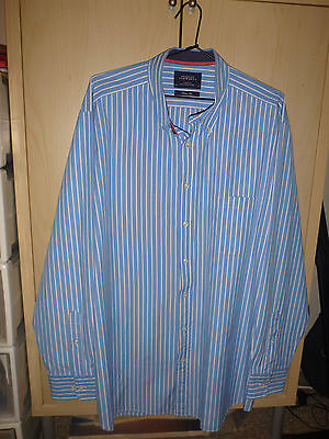 Mens Charles Tyrwich Blue Striped Weekend Long Sleeved Shirt Size 2Xl