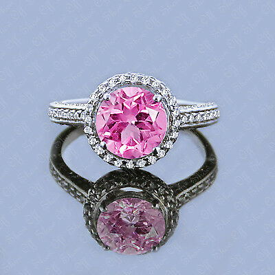 2.50 Ct Round Cut Solitaire Pink Sapphire Ring 14K White Gold Engagement Ring