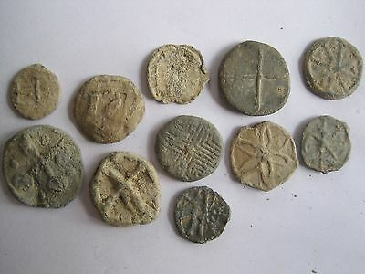 11 x MEDIEVAL / POST MEDIEVAL  LEAD TOKENS (UK metal detecting find by me)