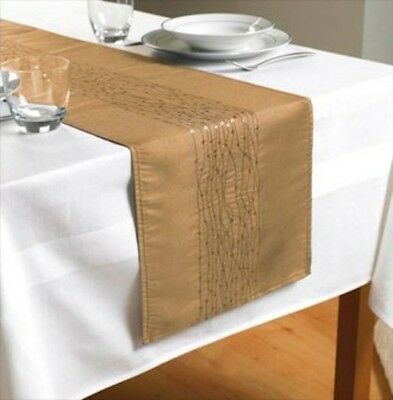 "Gold Embroidered Taffeta Table Runner 90"" x 13""  (230cms x 33cms)"