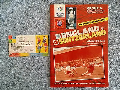 1996 -  ENGLAND v SWITZERLAND PROGRAMME + MATCH TICKET - EURO 96 GROUP A