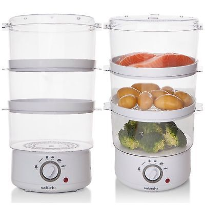 Sabichi Electric  3 Tier Food Steamer Cooker  White 7.2 Litre
