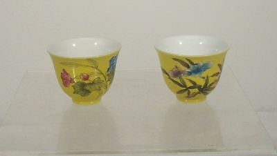 Antique Vintage Pair of Chinese Yellow Republic Style Bowls Teacups
