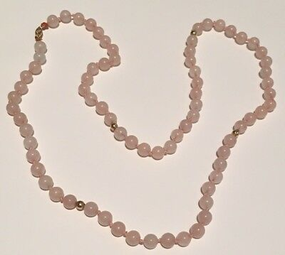 "Vintage Antique Chinese Asian Rose Quartz Bead 14k Yellow Gold Necklace 27"" 50g"