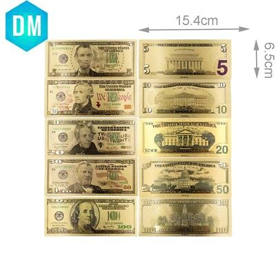 5,10,20,50,100 American Paper Money Collectible US 24k Gold Banknote Set Gifts