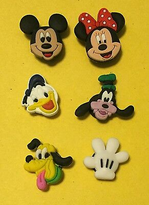 6 PC  Disney Mickey Mouse Like JIBBITZ SHOE CHARMS NEW- US Seller