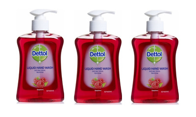 THREE Dettol ANTI-BACTERIAL HAND WASH 250ml - Raspberry - Revitalise