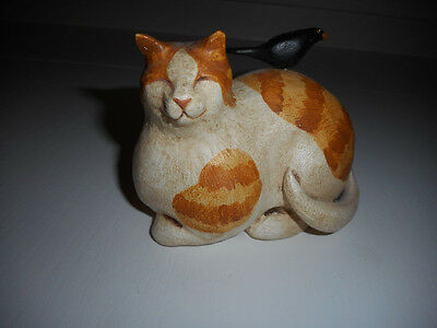 Vintage Orange Tabby Cat & Crow ~ Primitive Collectible ~ Warren Kimble Folk Art
