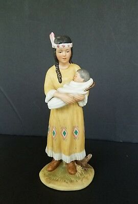 Vintage Homco Native American Indian Mother Woman Baby Papoose Figurine