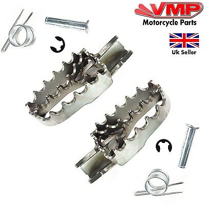 Motorcycle Serrated Footrest Pair Motocross Enduro Dirt Bike Scrambler Stainless