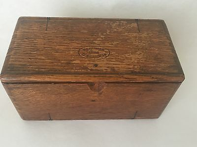 Antique Oak Sewing Box Puzzle Roll up Dovetail w/some implements (BC)